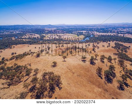 Aerial View Of Murray River And Australian Countryside