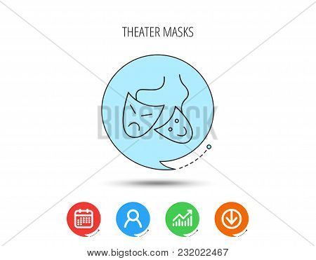 Theater Masks Icon. Drama And Comedy Sign. Masquerade Or Carnival Symbol. Calendar, User And Busines