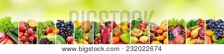 Panoramic collage vegetables and fruits on green background. Copy space