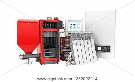 Modern Concept Heating Saving Solid Fuel Boiler Battery Electric Boiler And Thermostat 3d Render On