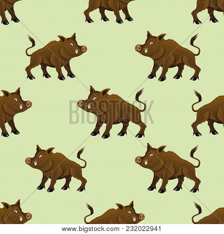 Seamless Pattern With Wild Boars On A Green Background.