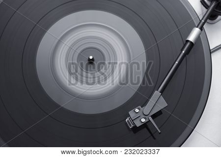 Turntable, Record-player Of Vinyl Disks Close-up, B/w