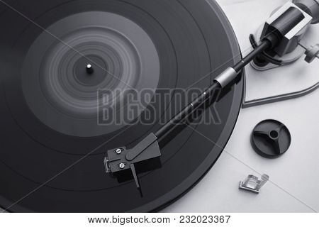 Turntable, Record-player Of Vinyl Disks Close-up? View From Above
