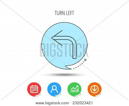 Turn Left Arrow Icon. Previous Sign. Back Direction Symbol. Calendar, User And Business Chart, Downl
