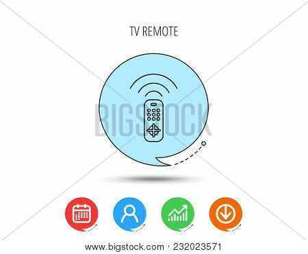 Remote Control Icon. Tv Switching Channels Sign. Calendar, User And Business Chart, Download Arrow I