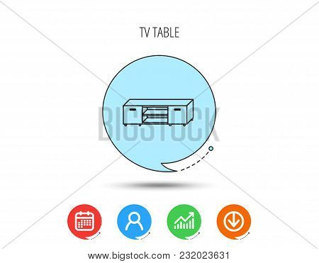 Tv Table Stand Icon. Television Furniture Sign. Calendar, User And Business Chart, Download Arrow Ic