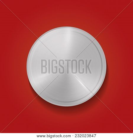Abstract Vector Illustration Polygon, Hex Badge, Blank Metallic Medal Template, Realistic Metal Back