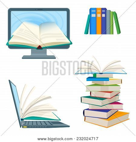 Online Encyclopedia Poster With Computer And Notebook, Digital Textbooks Inside And Piles Of Books A