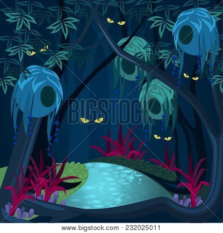 Mysterious Enchanted Forest With Sparkling Eyes In Darkness, Magical Ghosts Among Trees, Jungles At