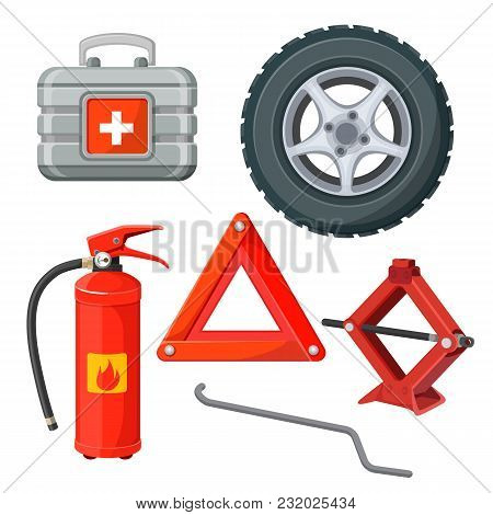 Emergency First Aid Kit In Car, Fire Extinguisher, Emergency Stop Sign, Jack-screw, Spare Wheel And