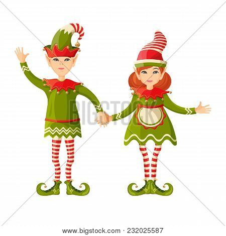 Elf Boy And Girl Holding Hands Human-shaped Supernatural Female And Male Being In Green Suit, Cute C