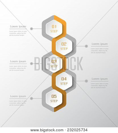 Infographic Design Elements For Your Business Data With 5 Options, Parts, Steps Or Processes. Vector