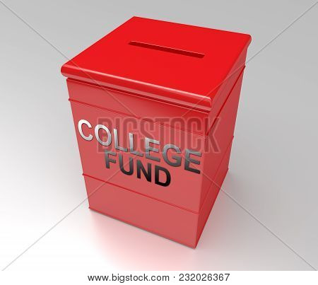 3d Illustration Depicting A Plain Red Cube Money Box With A College Fund Concept.
