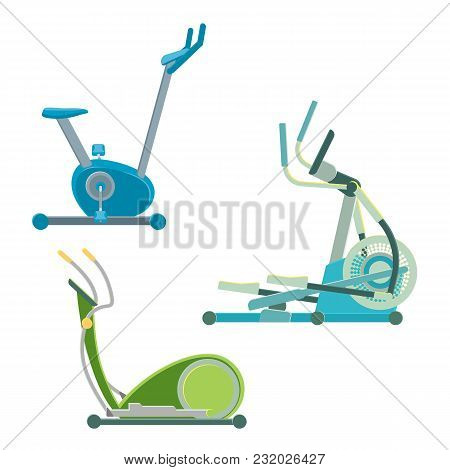 Elliptical Training Apparatuses To Keep Physical Shape Set. Modern Mechanism To Do Sport And Lose We