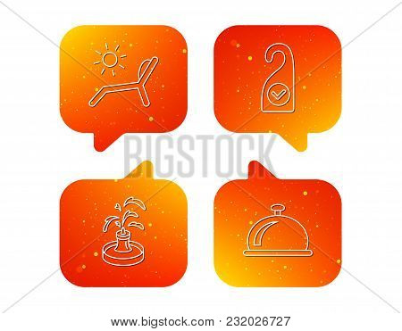 Reception Bell, Fountain And Beach Deck Chair Icons. Clean Room Linear Sign. Orange Speech Bubbles W