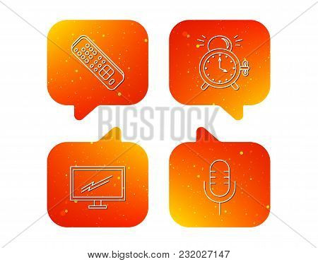 Microphone, Alarm Clock And Tv Remote Icons. Widescreen Tv Linear Sign. Orange Speech Bubbles With I
