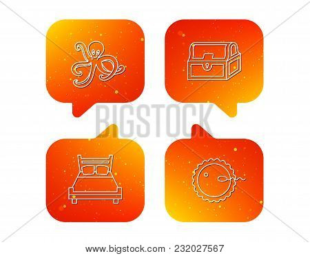 Fertilization, Double Bed And Octopus Icons. Treasure Chest Linear Signs. Orange Speech Bubbles With