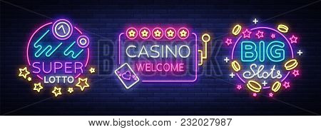 Casino Set Of Logos In Neon Style. Design Template. Neon Sign Collection, Light Banner, Billboard, B