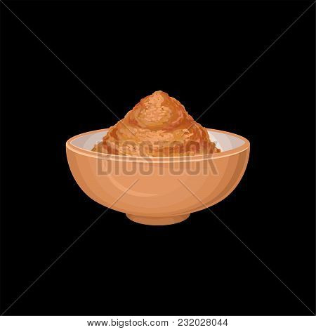 Cinnamon Powder In Ceramic Bowl, Fragrant Spice Vector Illustration Isolated On A White Background.
