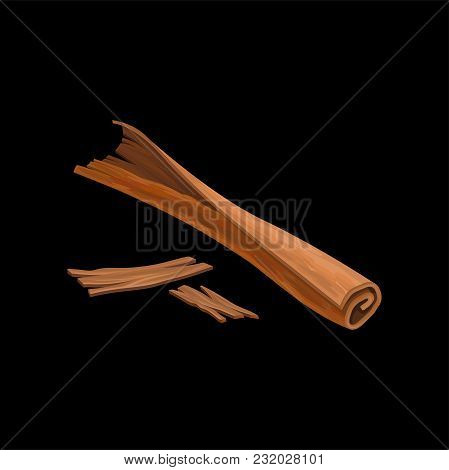 Stick Of Cinnamon, Fragrant Spice Vector Illustration Isolated On A White Background.