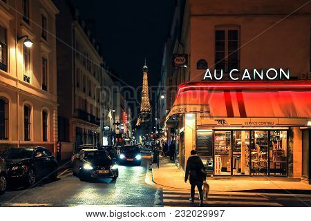 Paris, France - February 10, 2018: Typical View Of Parisian Street. Architecture And Landmark Of Old