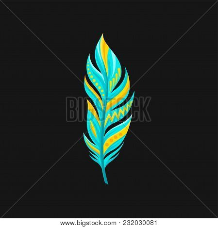 Beautiful Bright Abstract Turquoise And Yellow Feather Vector Illustration Isolated On A Black Backg