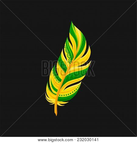 Beautiful Bright Abstract Yellow And Green Feather Vector Illustration Isolated On A Black Backgroun
