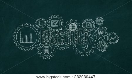 Chalkboard With Gears And Business And Finance Symbols (3d Render)