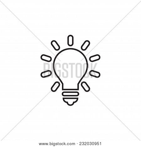 Lightbulb Linear Icon In A Flat Design In Black Color. Vector Illustration Eps10.
