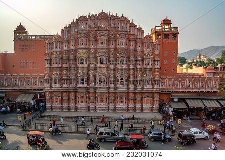 Jaipur, India - November 9, 2017: Beautiful Facade Of Hawa Mahal Palace In India. The Structure Was
