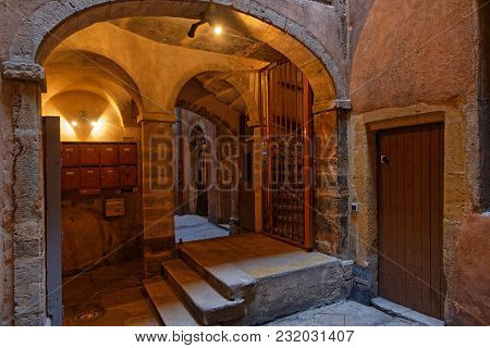 Lyon, France, March 19, 2018 : A Traboule In Historic Center Of Lyon. Traboules Are A Type Of Passag