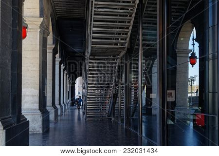 Lyon, France, March 19, 2018 : Arcades Under The Opera House Of Lyon. The Original Opera House Was R
