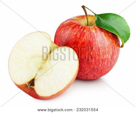 Ripe Red Apple Fruit With Apple Half Without Seeds And Apple Leaf Isolated On White Background. Red