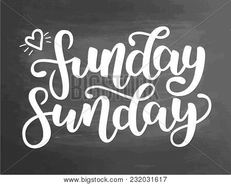 Funday Sunday. Hand Drawn Lettering. Typographic Quote. Hand Drawn Lettering. White Hand Drawn Brush
