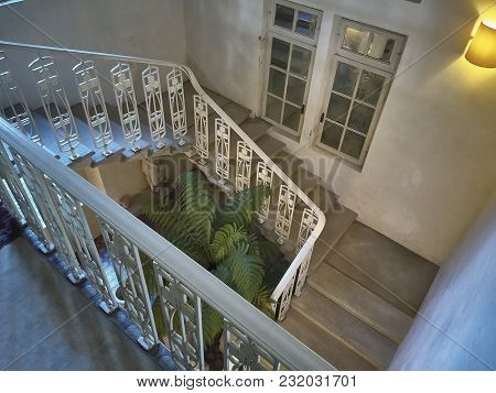 Detail Of A Spiral Staircase Inside A Period House.