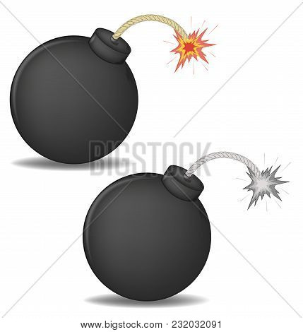 Vector Illustration Of A 3d Round Bomb With Burning Wick. Color And Black-and-white Versions