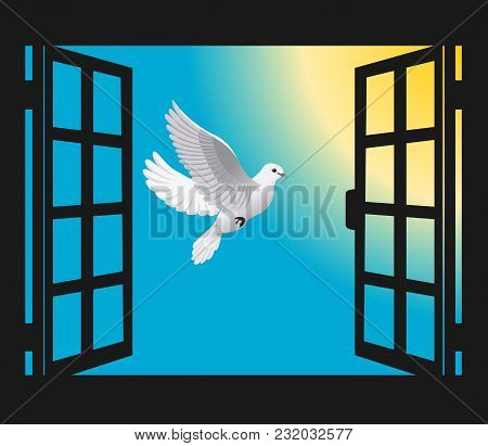 An Open Window And A Flying Dove To The Sun Vector