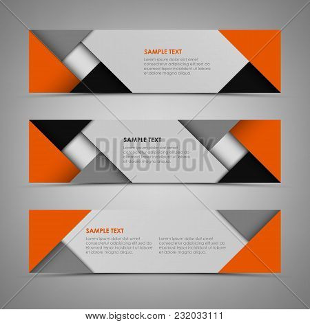 Abstract Horizontal Banners With Orange Gray Design Template Vector Eps 10