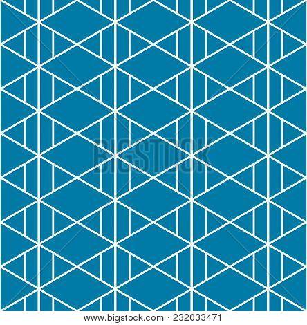 Triangle Aztec Indigo Blue Pattern Seamless Background. Vector Illustration.