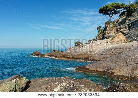 View of Mediterranean sea an rocks along coastline of Recco - small tourist resort in Liguria, Italy.