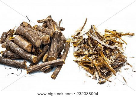Close Up Of Ayurvedic Herb Liquorice Root,licorice Root, Mulethi Or Glycyrrhiza Glabra Root With Its