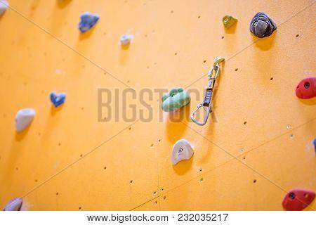 Climbing Wall. Climbing Wall With Colorful Rocks