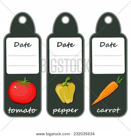 Organic Label With Green Vegetables .red Tomato, Yellow Pepper And Orange Carrot. Set Of Labels For