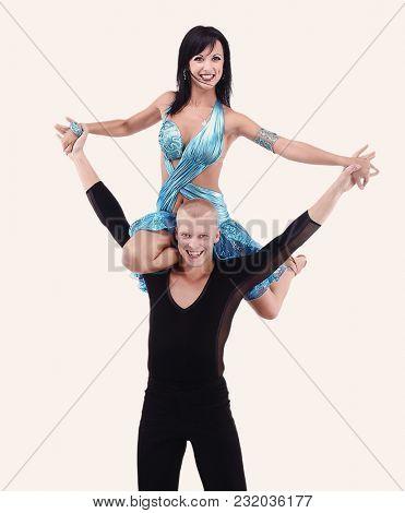 Latino dancers posing. Isolated on white background