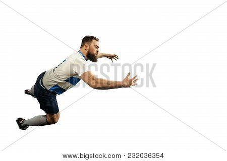 The Silhouette Of One Caucasian Rugby Man Player Isolated On White Background. Studio Shot Of Fit Ma