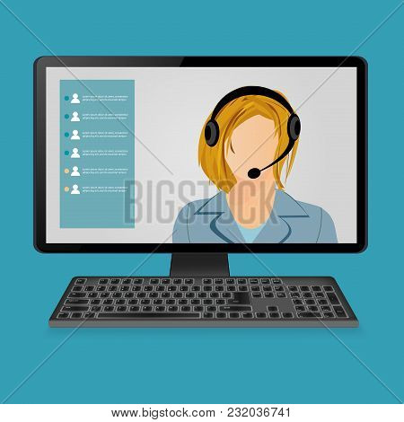 Woman With Headphones On Computer Monitor Screen.vector Illustration