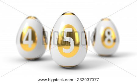 Easter Egg Painted As Lottery Ball. Trio Balls Version. Isolated On White. 3d Illustration
