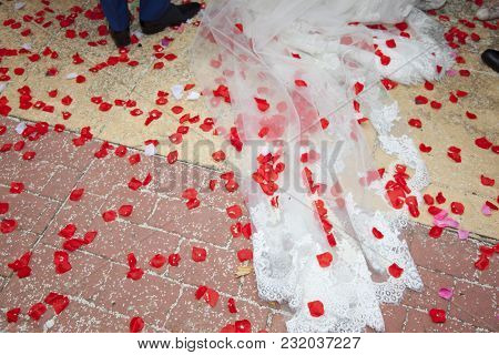 Detail Of The Floor After The Bride And Groom Leave The Church And The Guests Throw The Rice And The