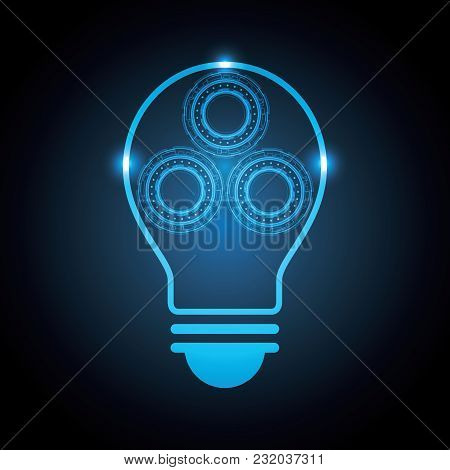 Technology Abstract Circle Lightbulb Background Vector Illustration