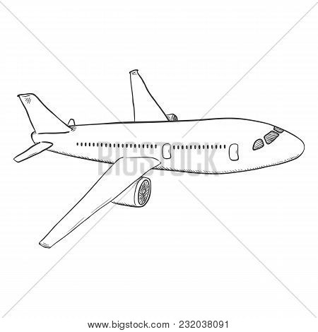 Vector Sketch Passenger Airplane. Commercial Aviation Aircraft.